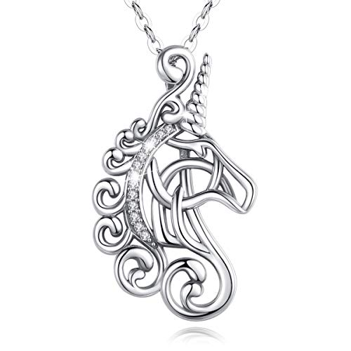 Unicorn Necklace for Little Girls Sterling Silver, AEONSLOVE Vintage Horse Head Celtic Unicorn Pendant Necklace CZ Unicorn Jewelry Gifts for Girls Women Girlfriend Daughter, 18' Chain