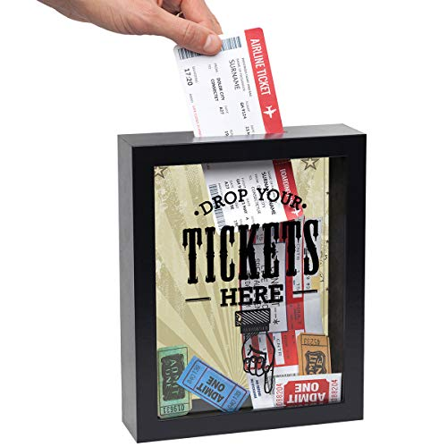 Americanflat 7x9 Ticket Shadow Box Frame in Black - Drop Your Tickets Here Decorative Momento Box with Polished Glass for Wall and Tabletop