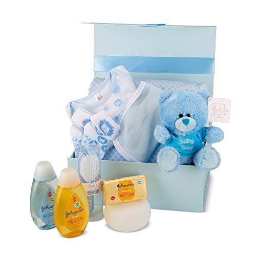 Baby Box Shop - Cesta regalo bebe - Regalos originales para baby shower con esenciales para bebes recien nacidos que incluye oso de peluche y caja recuerdos azul…