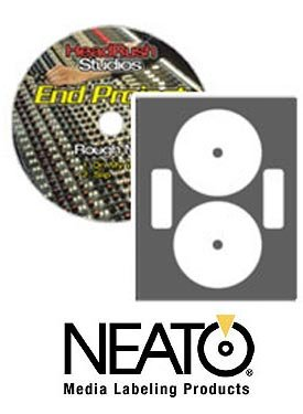 Neato CD/DVD Laser Gloss Full Coverage Labels  50 Sheets  Makes 100 Labels - Online Design Label Studio Included - Adhesive Made Specifically for CDs & DVDs