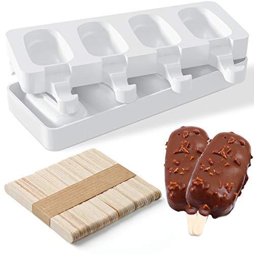 Lidasen Eis am Stiel, 2 Packungen Silikonformen für Eis am Stiel, lebensmittelecht, BPA-frei, Eiscreme-Formen, Frozen Dessert, Werkzeuge für Kinder und Erwachsene (+50 Stäbchen)
