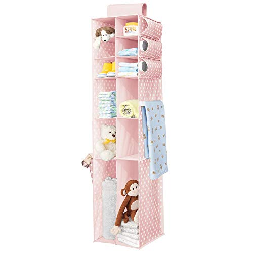 mDesign Long Soft Fabric Over Closet Rod Hanging Storage Organizer with 12 Divided Shelves, Side Pockets for Child/Kids Room or Nursery, Store Diapers, Wipes, Lotions, Toys - Pink/White