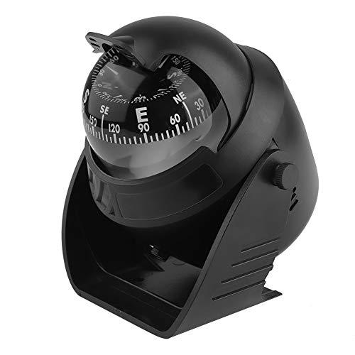DFKEA Bola de brújula portátil - Bola de brújula autoadhesiva de Montaje en Tablero portátil para Barco Marino, camión, Coche, Exterior, Negro