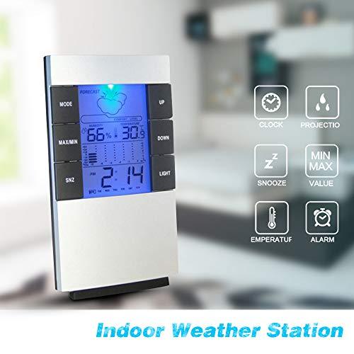 SanyaoDU LCD-Digital-Temperatur-Feuchtigkeits-Messinstrument Wettervorhersage Innenwetterstation mit Datum Kalender-Taktgeber-Funktion