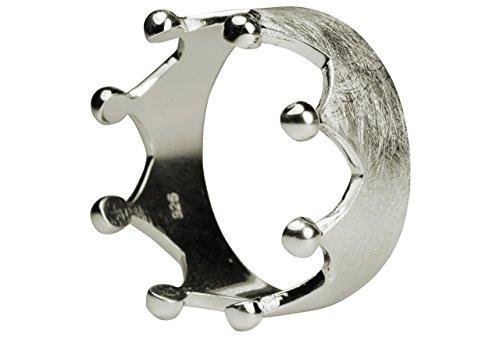 SILBERMOOS XL XXL Silberringe in großen Größen Damenring Krone Kronenring gebürstet Größe 64, 66, 68, 70 Sterling Silber 925, Größe:66 (21.0)