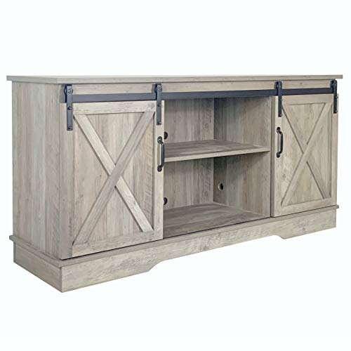 Farmhouse Sliding Barn Door TV Stand for TVs up to 65', Home Living Room Entertainment Center, Wood Storage Cabinet with Doors and Shelves, Washed Oak