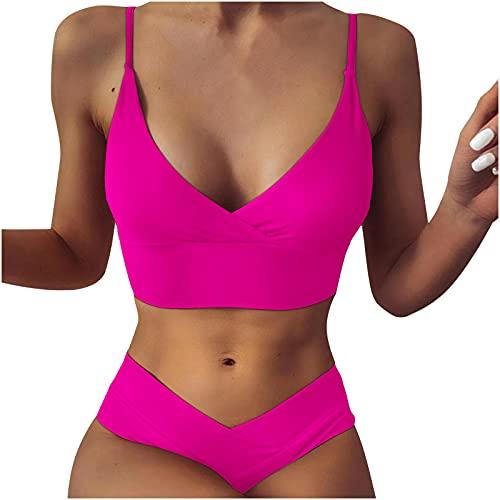 Nuevo 2021 Conjunto de Bikinis Mujer Bikini Sexy Trajes de Baño Mujer dos piezas Ropa de Playa Cómodo Cintura alta Color sólido Push up Bikini spa Tankinis Bañador Beachwear Vacaciones