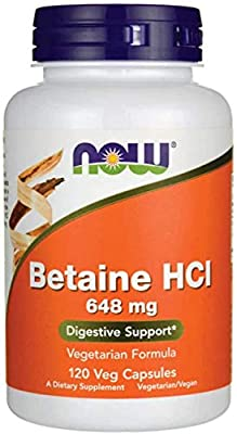 NOW Foods Betaine HCl, 648mg, 120 Capsules, Newest Release