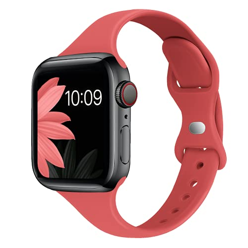 STG Sport Band Compatible with Apple Watch 38mm 40mm 42mm 44mm, Soft Silicone Slim Thin Narrow Replacement Strap Compatible for iWatch SE Series 6/5/4/3/2/1 (Coral, 38/40mm)