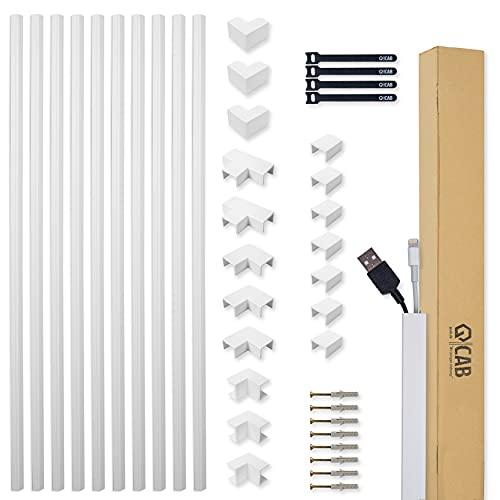 Kabelkanal Set weiß selbstklebend 10m (1,2 x 1,2 x 100 cm) - mit extrastarkem Schaumklebeband zur Montage ohne Bohren