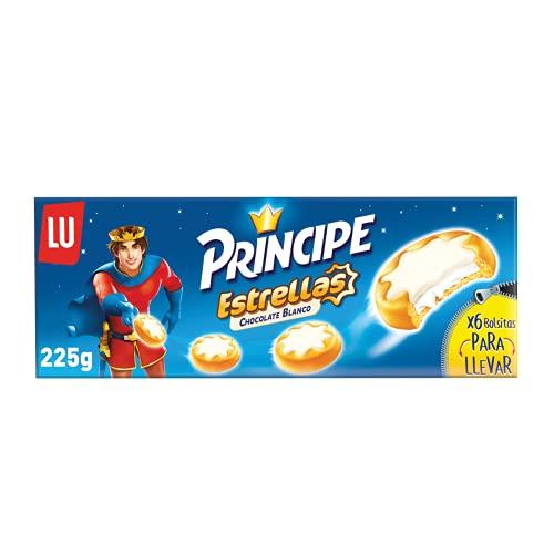 Príncipe Galletas Estrellas con Chocolate Blanco, 6 Bolsitas, 225g