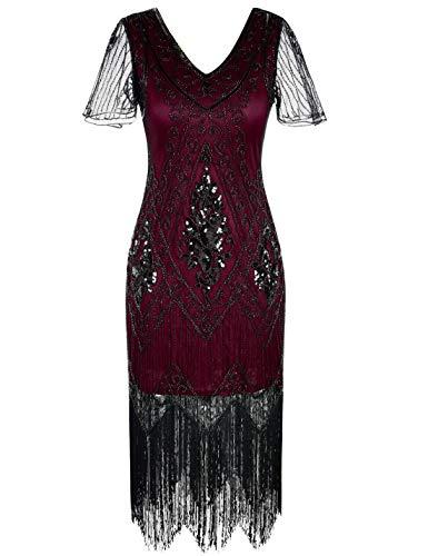 PrettyGuide Women's 1920s Dress Art Deco Sequin Fringed Flapper Dress L Burgundy