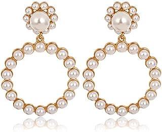 AMERTEER Fashion Women Earring Set Pearl Crystal Large Hoop Circle Lady Luxury Drop Dangle Earrings Jewelry