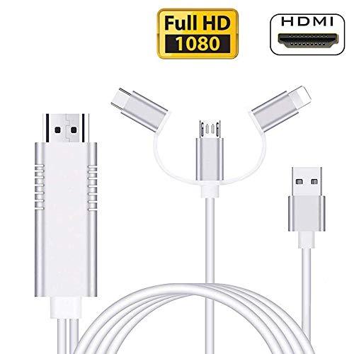 Snxiwth Smart Phone auf HDMI Kabel, 3 in 1 Adapter Blitz USB Type C zu HDMI Kabel Konverter 1080P,Digital to AV Adapter Kompatibel mit Android und I-OS für HDTV Projektor