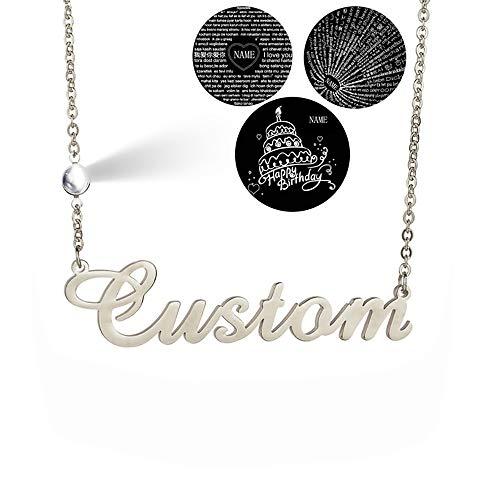 Blue98 Collar con Nombre Personalizado de Plata esterlina 925, Collar Colgante de proyección de 100 Idiomas te Amo, Collar de Letras Iniciales Personalizado