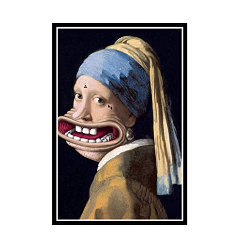DuanWu Big Mouth Girl With Pearl Earring Funny Animal Poster Picture Backdrop Wall Decor Home Living Room Decoration -20X28InchNoFrame1Pcs