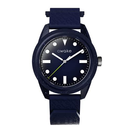 AWAKE ELT12 - Reloj solar para hombre, fabricado a partir de red de pesca reciclada, impermeable, 50 m, marca francesa, solo 29 gramos