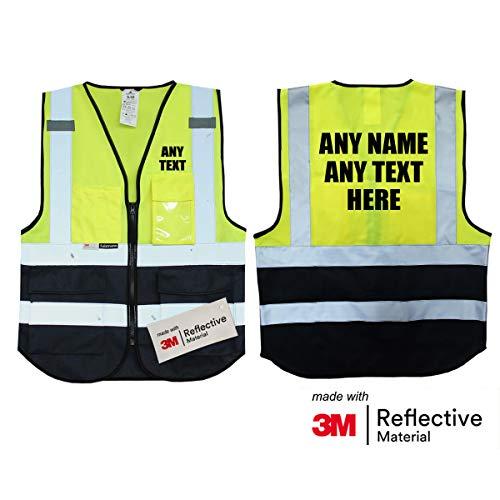 Personalisierte Salzmann 3M Warnweste mit Text oder mehrfarbigem Logo und Mehreren Taschen, hergestellt mit 3M Reflektierendem Material - Gelb Marineblau hochsichtbar Sicherheitsweste Arbeitsweste