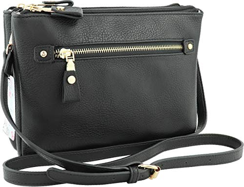 B BRENTANO Multi-zipper Double Pocket Crossbody Handbag Purse (Black)