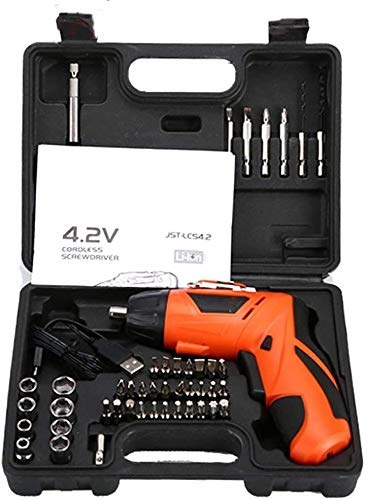 KJRJDD Screwdriver Electric Drill Driver 4.2V, 300mAh Lithium-ion Battery, 3.0N.m Position 6mm Keyless Chuck, 2-Speed Driver with LED, 180 Rotation Handle, 45Pcs Accessories,for DIY & Work,Colour:C