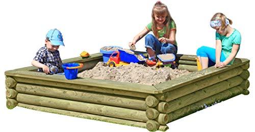 Gartenpirat Sandkasten 180x180 cm aus Rund-Holz Ø 10cm kesseldruckimprägniert TÜV