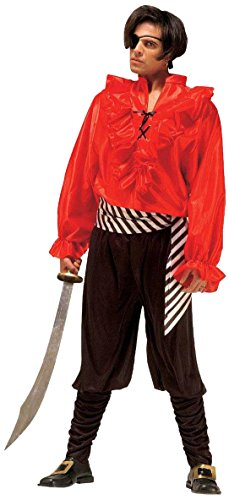 Caribbean Pirate Red/blk Costume Small For Buccaneer Fancy Dress