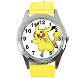 TAPORT Pikachu Pokémon Montre à quartz ronde avec bracelet en cuir jaune + batterie de rechange gratuite + sac cadeau gratuit