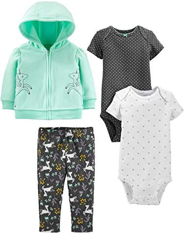 Simple Joys by Carter s Girls 4 Piece Fleece Jacket Pant and Bodysuit Set Mint Unicorn 18 Months product image
