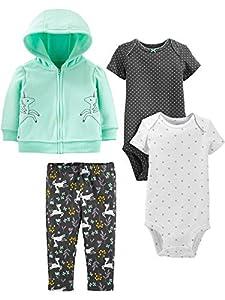 Simple Joys by Carter's 4-Piece Fleece Jacket, Pant, and Bodysuit Set Infant Toddler-Pants-Clothing-Sets, Mint Unicorn, 3-6 Meses