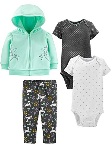 Simple Joys by Carter's Girls' 4-Piece Fleece Jacket, Pant, and Bodysuit Set, Mint Unicorn, 3-6 Months
