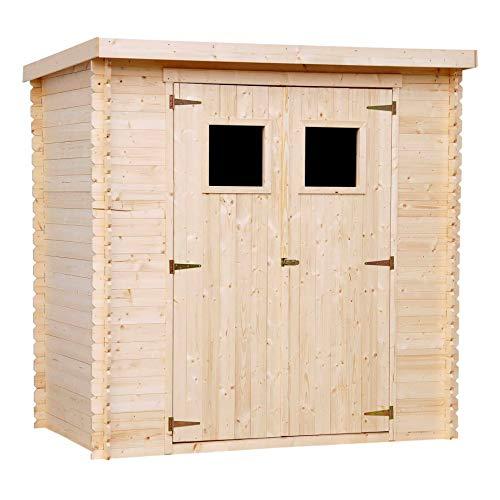 TIMBELA M311 Gartenhaus aus Holz für den Außenbereich - Kiefern- / Fichtenschuppen - Flachdach - H200 x 204 x 150 cm / 2,22 m2