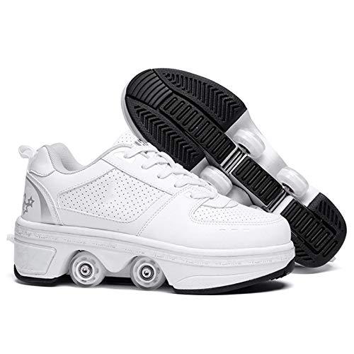 JY&WIN Patines de Ruedas,Rueda de deformación Luminosa de Doble hilera 2 en 1 Polea extraíble Patines Luminosos Deformación de Patinaje Zapatos para Caminar automáticos Patín de Ruedas Invisible,pl