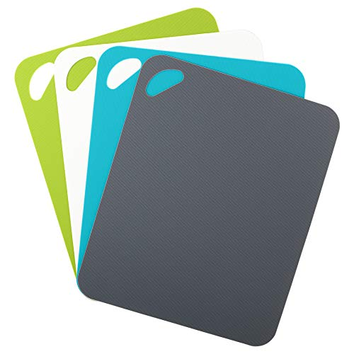 Dexas Heavy Duty Grippmat Flexible Cutting Board Set of Four, 11.5 by 14 inches, Gray/Turquoise/White/Green