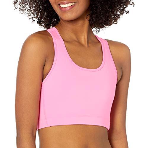 Amazon Essentials Women's Medium Support Racerback Active Sculpt Sports Bra, Bright Pink, Small