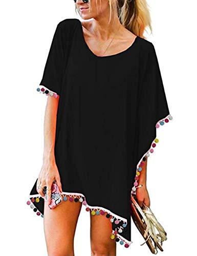 LOMON Badeanzug Cover Ups für Frauen Kleid Hawaii, Chiffon Pom Pom Trim Kaftan Coverup -  Rot -  Einheitsgröße