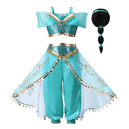 Pettigirl Filles Sequin Princess Dress Up Costume Outfit (160cm (11-12 Ans), Bleu)
