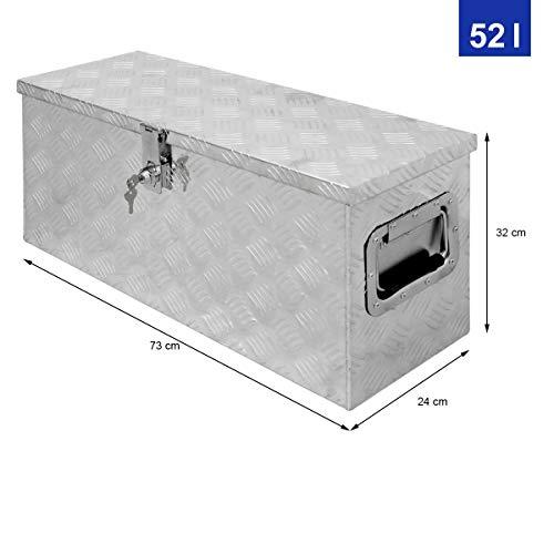 ECD Germany Alu Werkzeugkasten 73 x 24 x 32 cm - abschließbar - Werkzeugkoffer Werkzeugkiste Werkzeugbox Alukiste Kiste Alubox Transportbox Transportkiste Deichselbox Truckbox Box - 6
