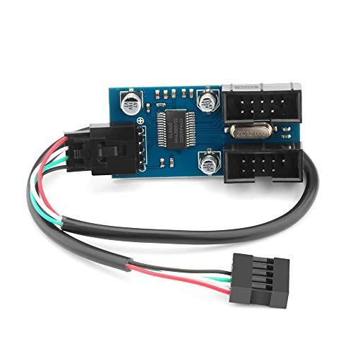 9 Poliger USB Splitter Stecker 1 bis 2 Buchse, USB 2.0 Verlängerungs Splitter Kabel, 9 Pin Stecker Adapter für Desktop Motherboard