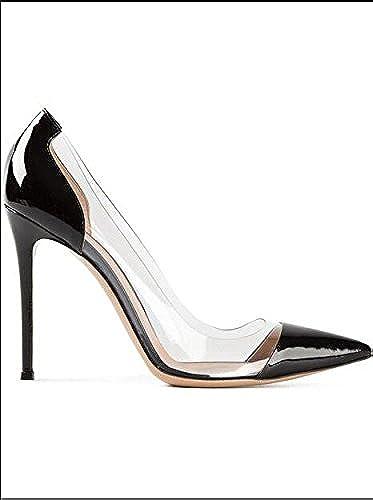 Xue Qiqi Escarpins Chaussures à Talons Hauts Chaussures à Talons Chaussures Plates Ms. Chaussures Transparentes Talons Hauts, 35, Noir (Cuir Verni) 10CM