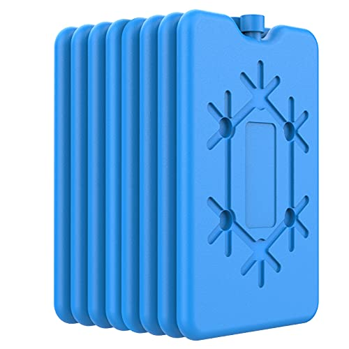 OUTXE Ice Packs for Lunch Box 8 Pack- Reusable Ultra-Thin Freezer Packs - Long-Lasting Cool Packs for Coolers, Keep Food Fresh and Cold in Lunch Boxes and breastmilk Bags - 8 Pack (Blue)