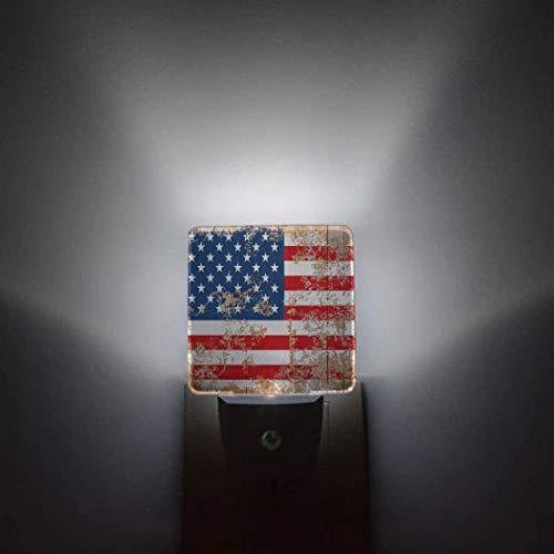 Sensor automático del día de la bandera nacional,paquete de 2 luces nocturnas que se conectan a la pared,estante rústico para vino,tiene una botella de vino y un dormitorio de vidrio,decoración brill