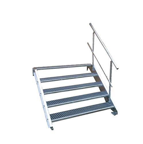 5 Stufen Stahltreppe mit einseitigem Geländer/Breite 60cm Geschosshöhe 70-105cm / Robuste Außentreppe/Wangentreppe/Stabile Industrietreppe für den Außenbereich/Inklusive Zubehör
