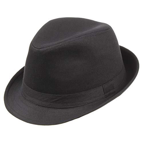 Lipodo Trilby Damen/Herren - Hut aus 100% Baumwolle - Stoffhut 56 cm - Sonnenhut Schwarz - Fedora mit Ripsband