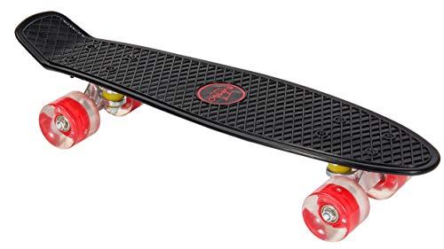 AMIGO Skateboard - Komplette Mini Cruiser - Skateboard für Anfänger, Kinder, Jugendliche und Erwachsene - mit Led Leuchtrollen und ABEC-7 Kugellager - 55 x 15 cm - Schwarz