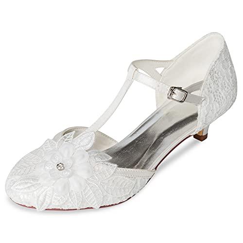 JIAJIA 01142 Mujer Zapatos de Novia Punta Cerrada T-Strap 4CM Tacón bajo...