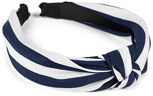 styleBREAKER Dames haarband met strepenpatroon en knopen in retrostijl, vintage look, haarband, hoofdband 04027016, Farbe:Donkerblauw-wit