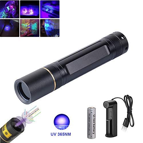 UV Taschenlampe 365nm, WESLITE Schwarzlicht Taschenlampen Wiederaufladbar mit Schwarzem Filterglas zur Geldüberprüfung UV Leimhärtung Fluoreszierende Skorpionsfelsen Mineralisch leuchtend