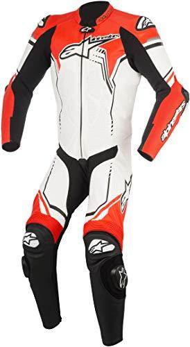 Combinaison Alpinestars GP Plus v2 Cuir Blanc/Noir/Rouge Fluo t60