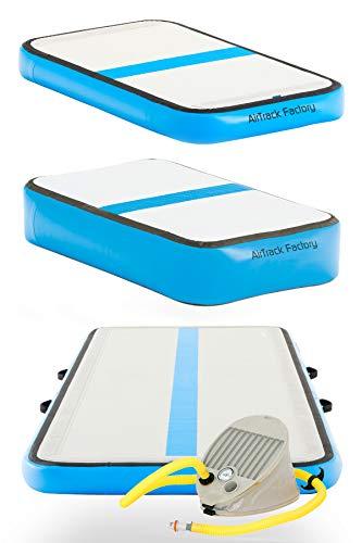 AirTrack Factory 3x1 Aufblasbares Trainingsset Airfloor Turnmatte Tumbling Trainingsmatte Sportmatte Gymnatikmatte inkl. Fußpumpe (Blau)
