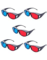 Jambar JD-06 Nvidia Red & Anaglyph 3D Plastic Frame Glasses ( 5 Pcs.Pack ) Red & Cyan 3D Video / Magazine